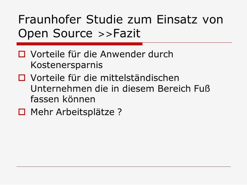 Fraunhofer Studie zum Einsatz von Open Source >>Fazit