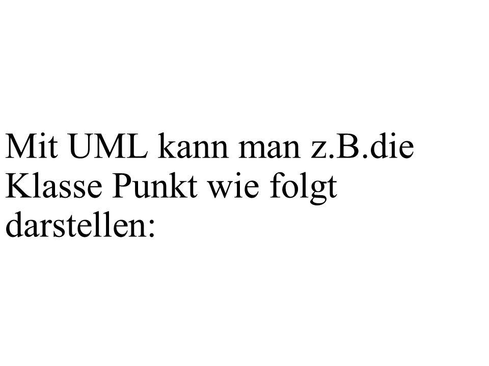 Mit UML kann man z.B.die Klasse Punkt wie folgt darstellen: