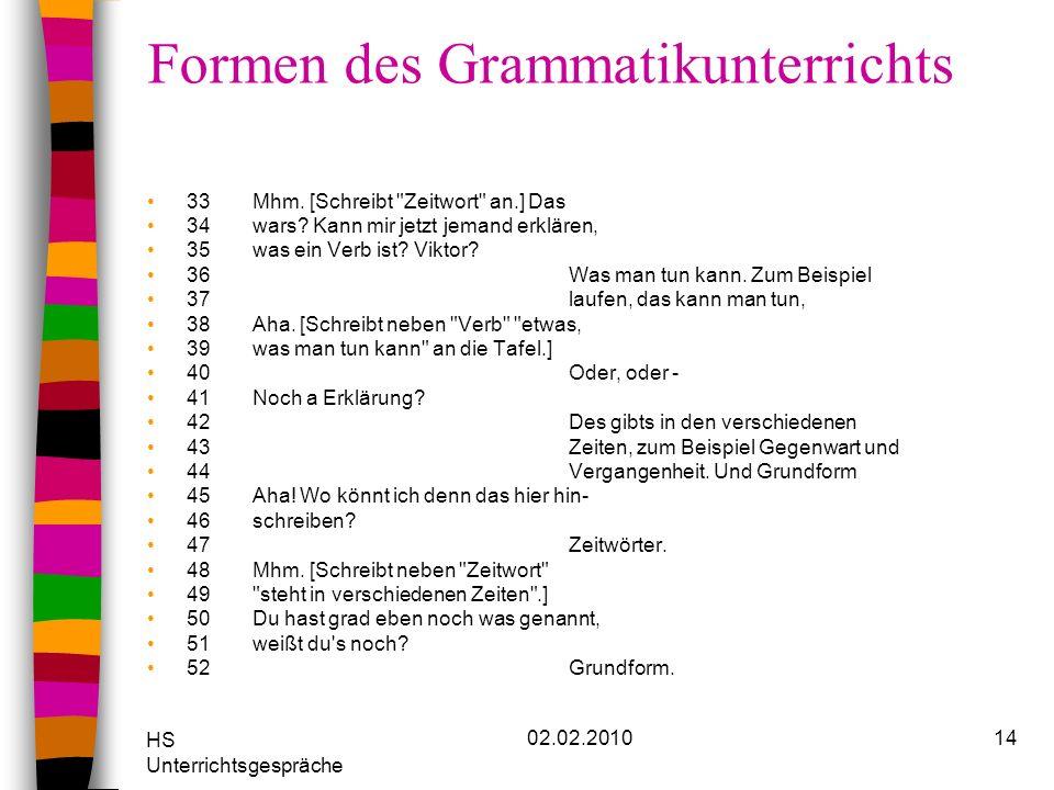 Formen des Grammatikunterrichts