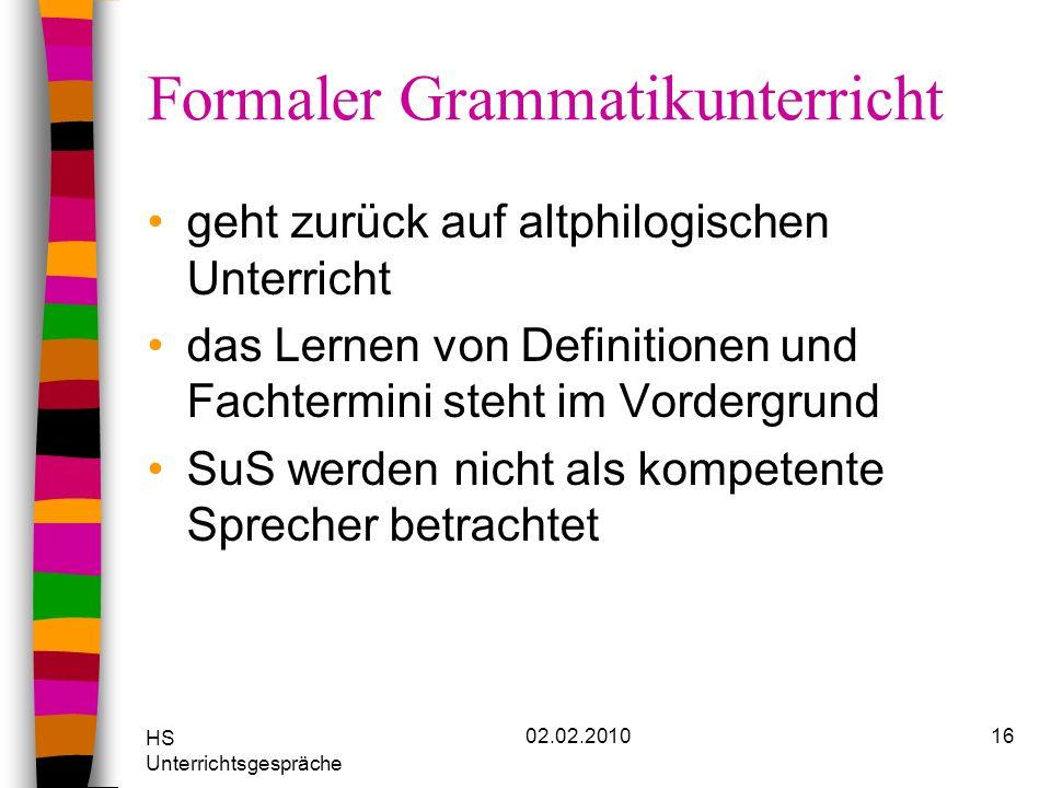 Formaler Grammatikunterricht
