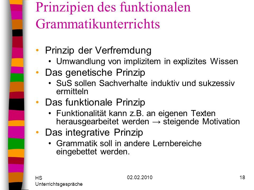 Prinzipien des funktionalen Grammatikunterrichts