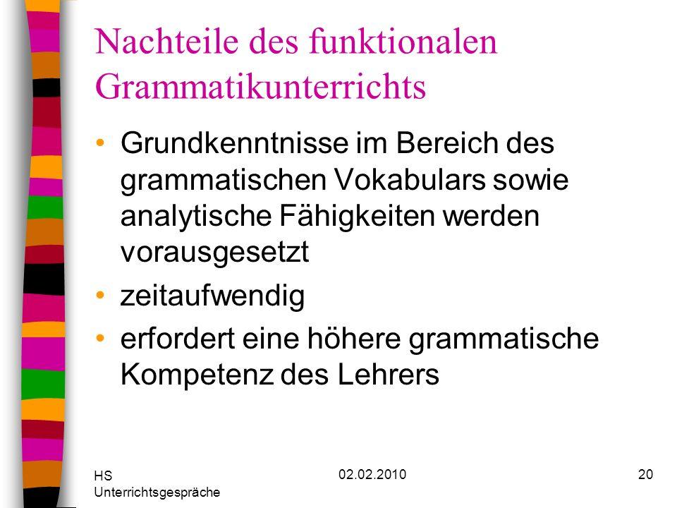 Nachteile des funktionalen Grammatikunterrichts