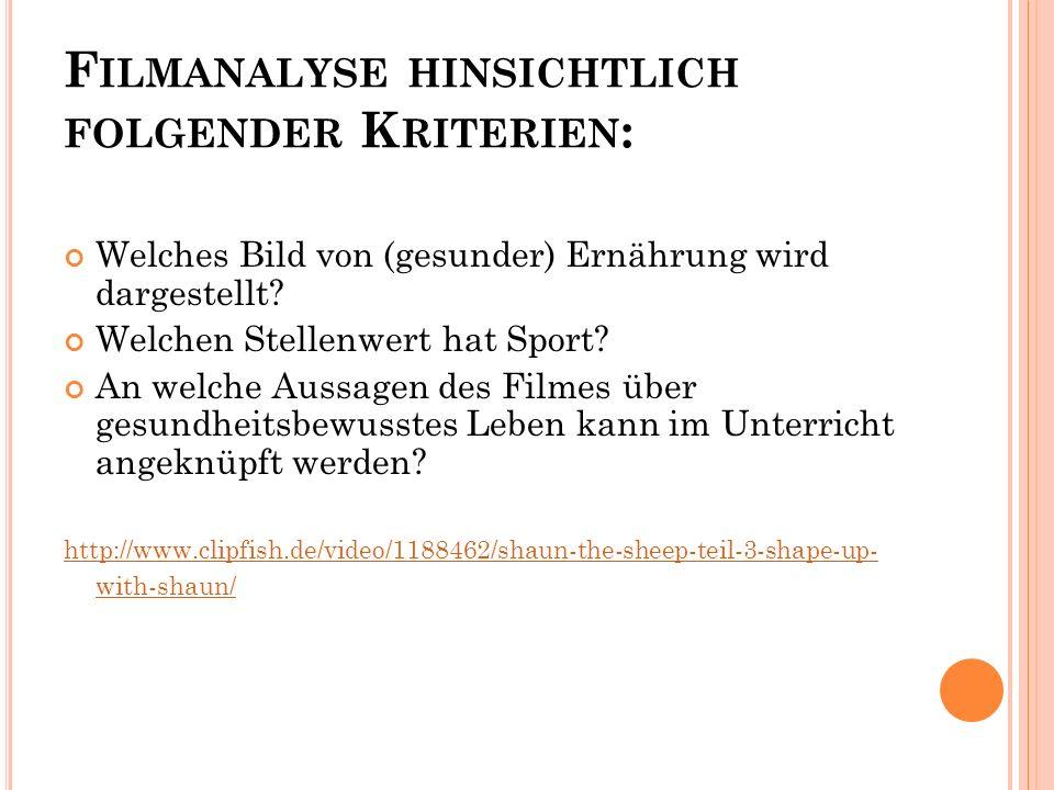 Filmanalyse hinsichtlich folgender Kriterien: