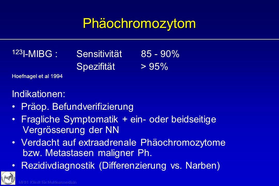 Phäochromozytom 123I-MIBG : Sensitivität 85 - 90% Spezifität > 95%