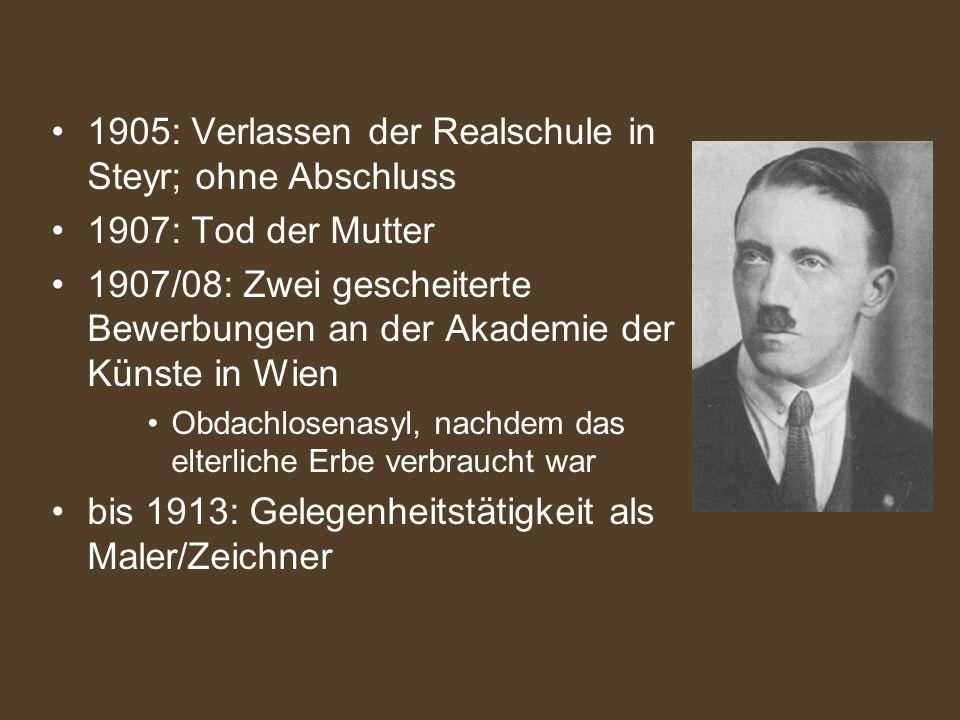 1905: Verlassen der Realschule in Steyr; ohne Abschluss