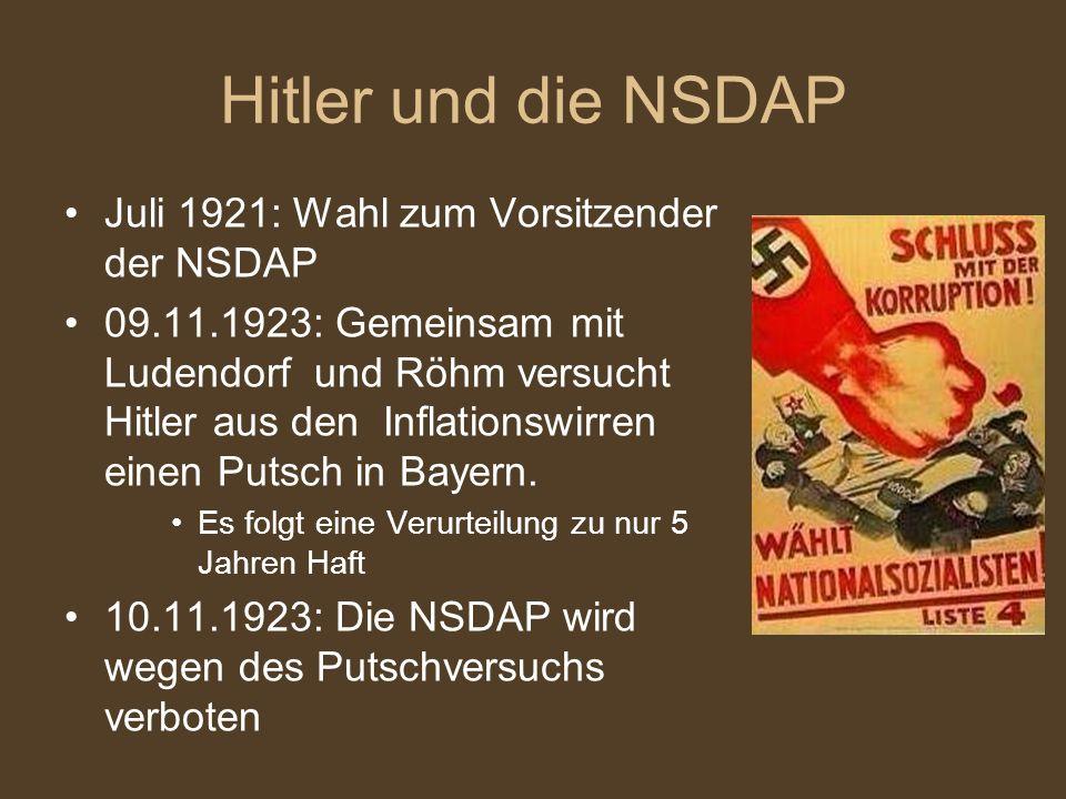 Hitler und die NSDAP Juli 1921: Wahl zum Vorsitzender der NSDAP
