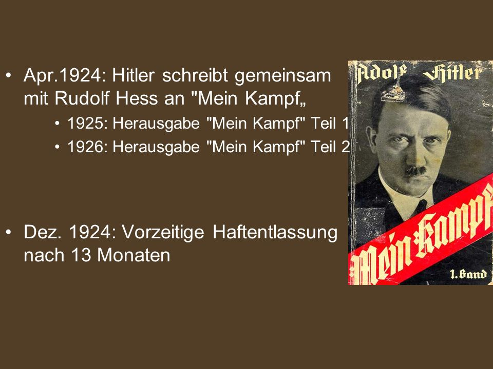 """Apr.1924: Hitler schreibt gemeinsam mit Rudolf Hess an Mein Kampf"""""""