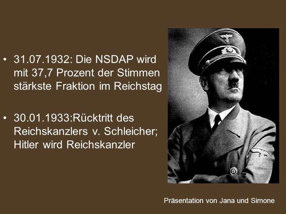 31.07.1932: Die NSDAP wird mit 37,7 Prozent der Stimmen stärkste Fraktion im Reichstag