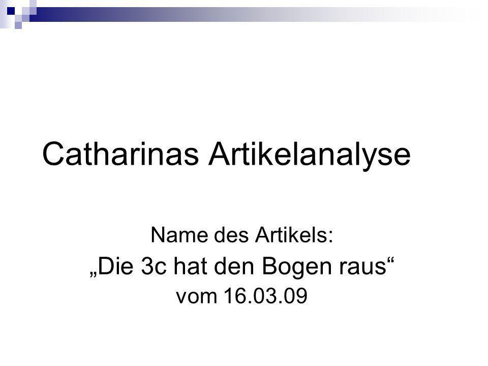 Catharinas Artikelanalyse