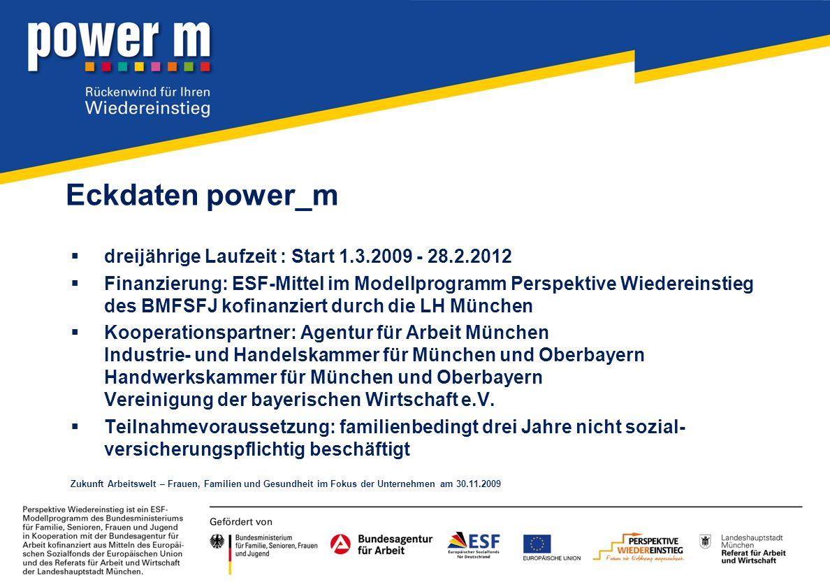 Eckdaten power_m dreijährige Laufzeit : Start 1.3.2009 - 28.2.2012