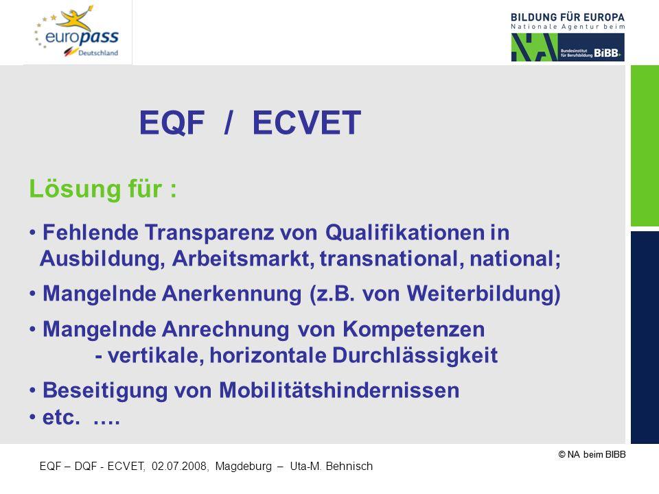 EQF / ECVET Lösung für : Fehlende Transparenz von Qualifikationen in