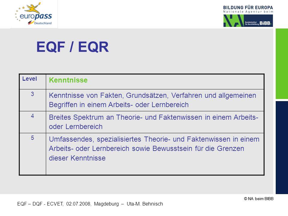 EQF / EQR Level. Kenntnisse. 3. Kenntnisse von Fakten, Grundsätzen, Verfahren und allgemeinen Begriffen in einem Arbeits- oder Lernbereich.