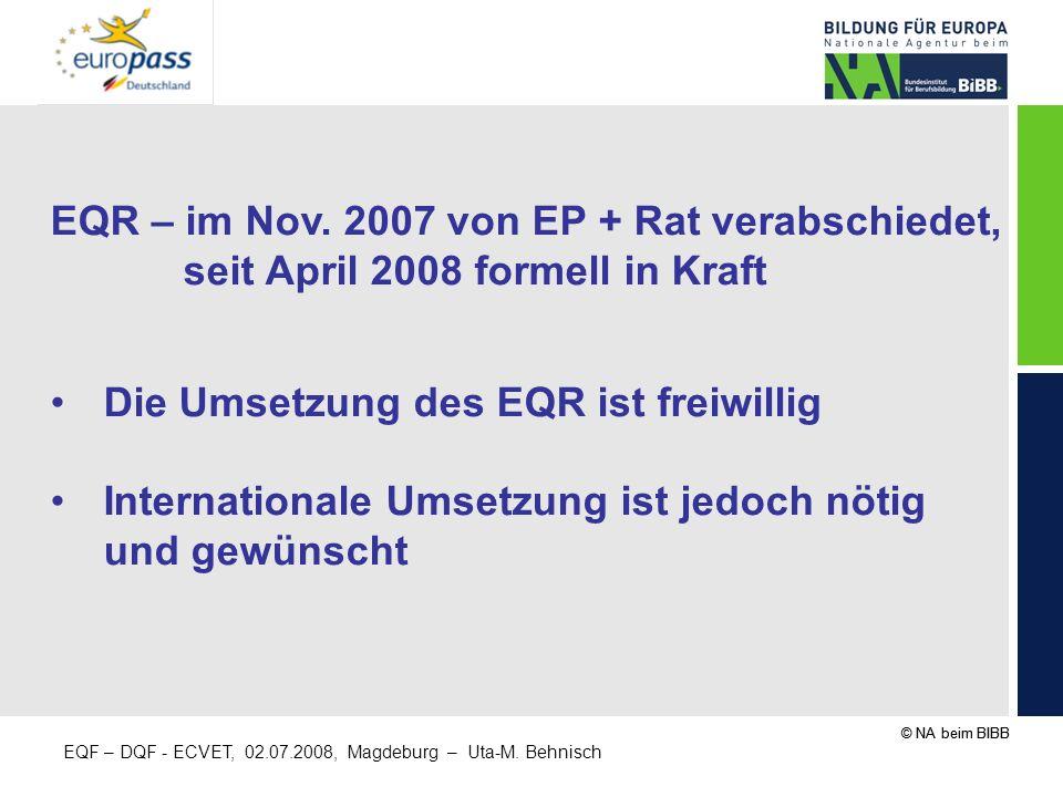 EQR – im Nov. 2007 von EP + Rat verabschiedet,