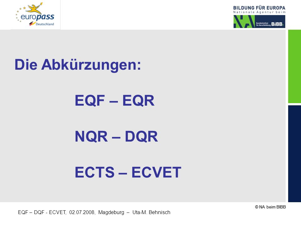 Die Abkürzungen: EQF – EQR NQR – DQR ECTS – ECVET