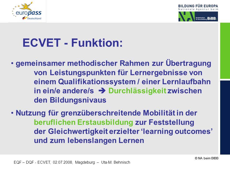 ECVET - Funktion: gemeinsamer methodischer Rahmen zur Übertragung