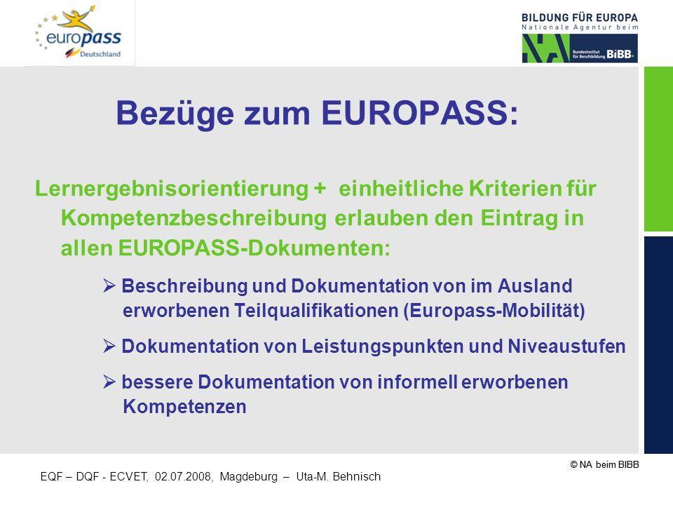 Bezüge zum EUROPASS: Lernergebnisorientierung + einheitliche Kriterien für Kompetenzbeschreibung erlauben den Eintrag in allen EUROPASS-Dokumenten: