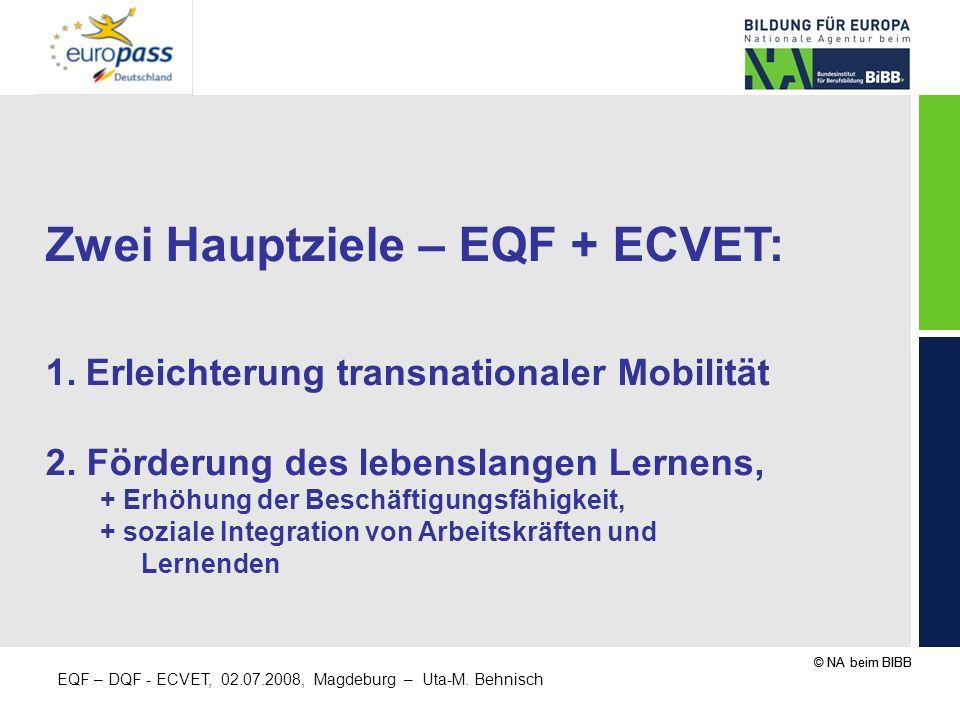 Zwei Hauptziele – EQF + ECVET: