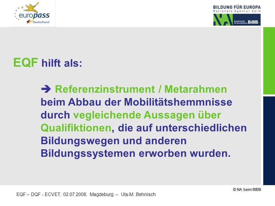 EQF hilft als: beim Abbau der Mobilitätshemmnisse