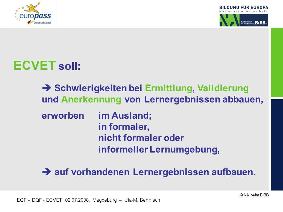 ECVET soll:  Schwierigkeiten bei Ermittlung, Validierung