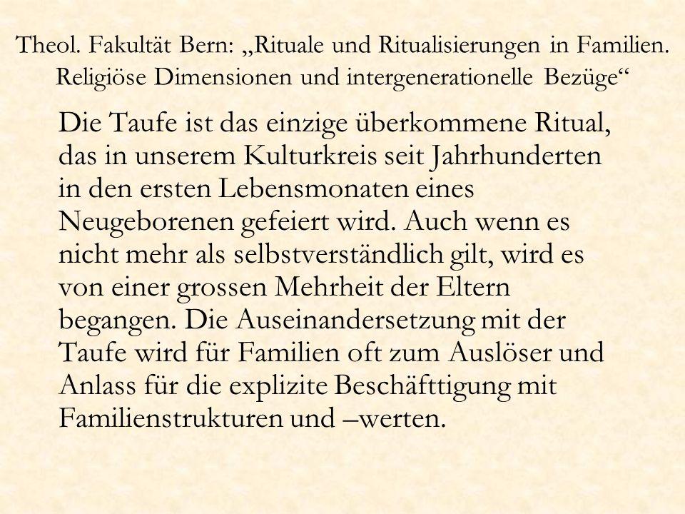 "Theol. Fakultät Bern: ""Rituale und Ritualisierungen in Familien"