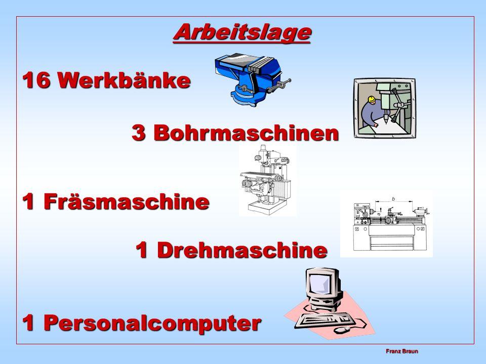 Arbeitslage 3 Bohrmaschinen 1 Drehmaschine
