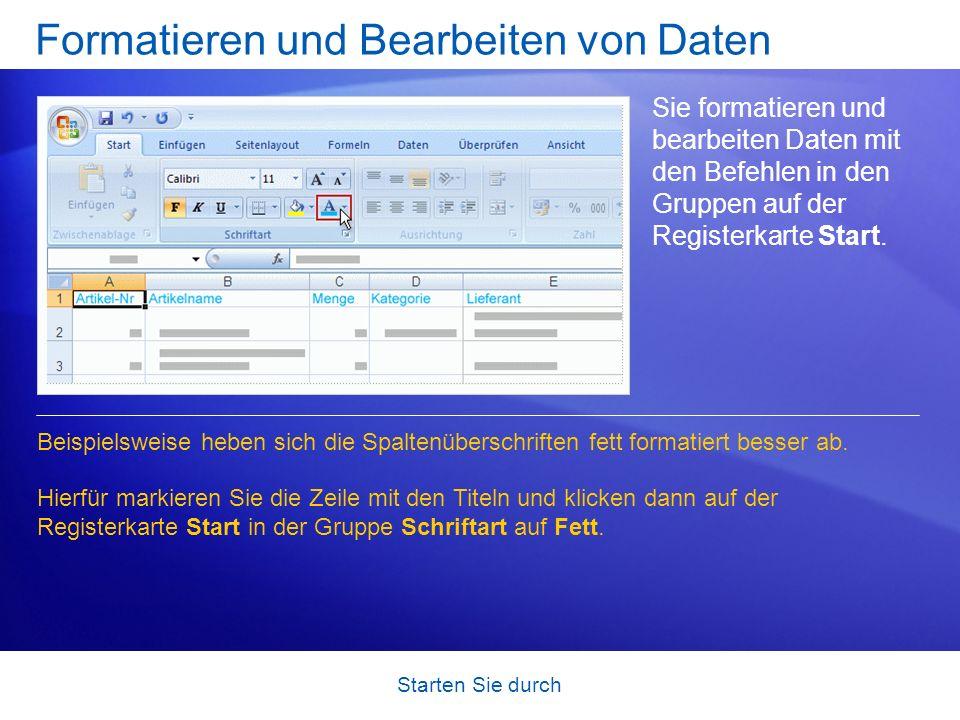 Formatieren und Bearbeiten von Daten