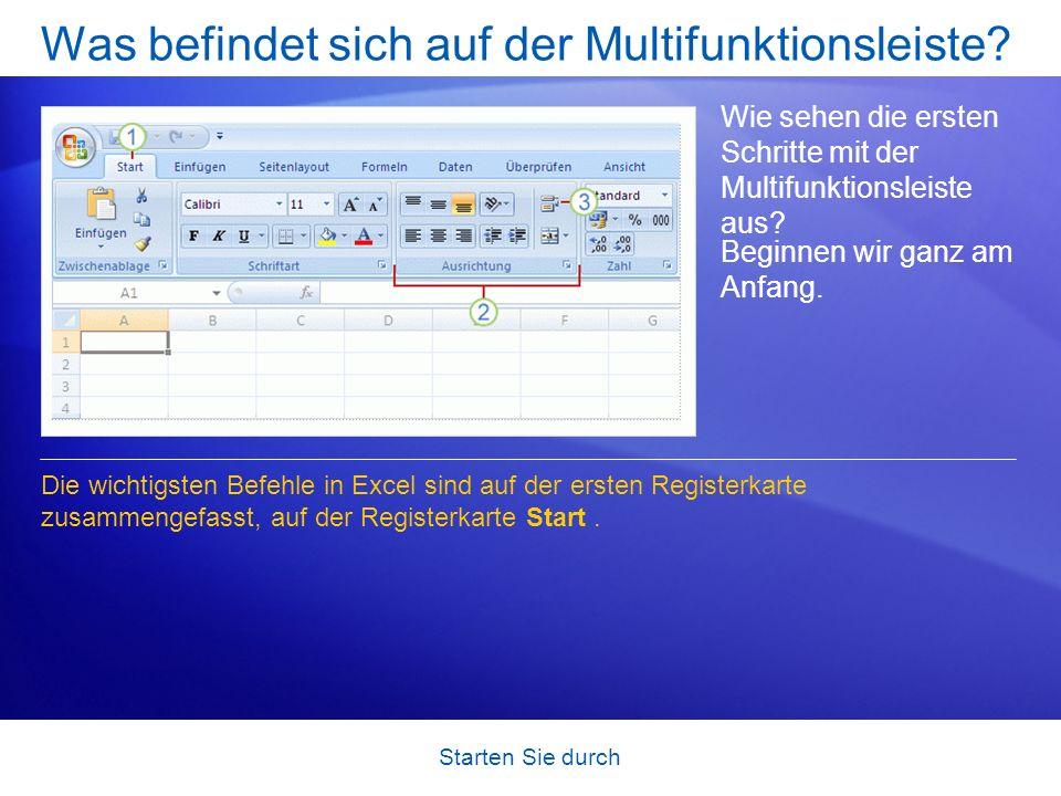 Was befindet sich auf der Multifunktionsleiste