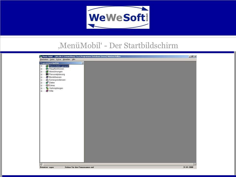 'MenüMobil' - Der Startbildschirm