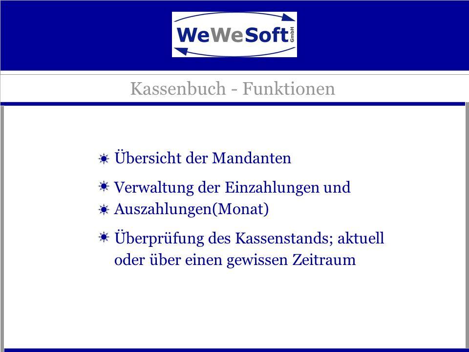 Kassenbuch - Funktionen