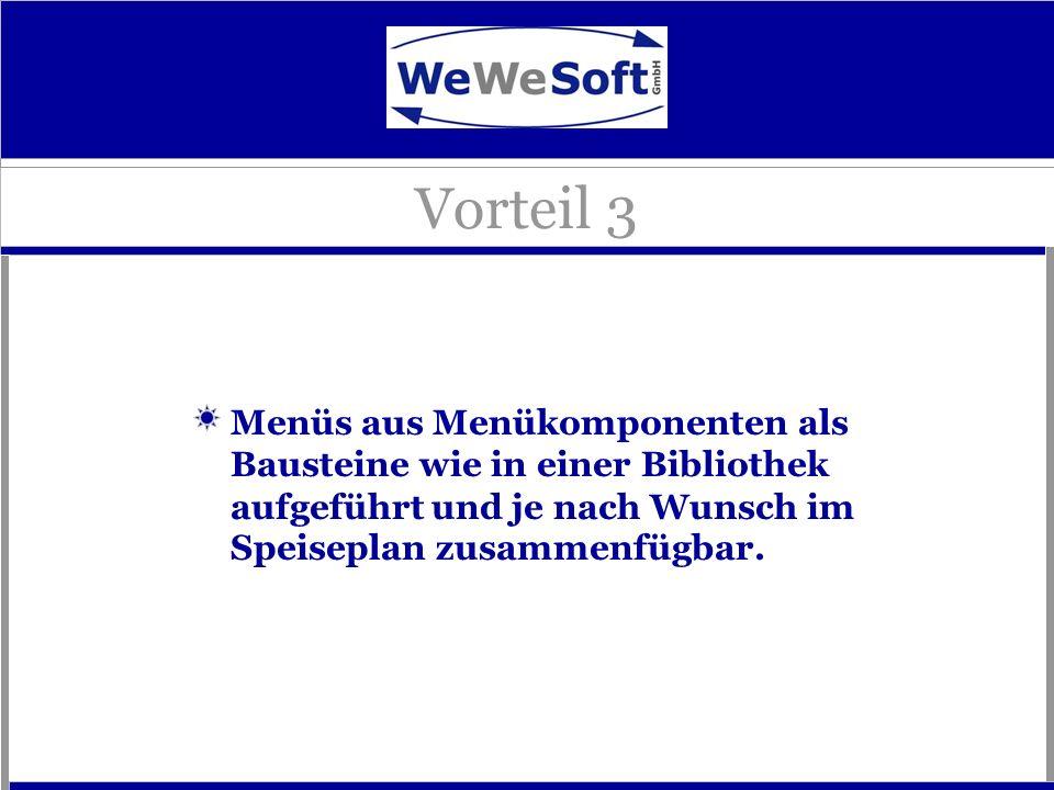 Vorteil 3Menüs aus Menükomponenten als Bausteine wie in einer Bibliothek aufgeführt und je nach Wunsch im Speiseplan zusammenfügbar.