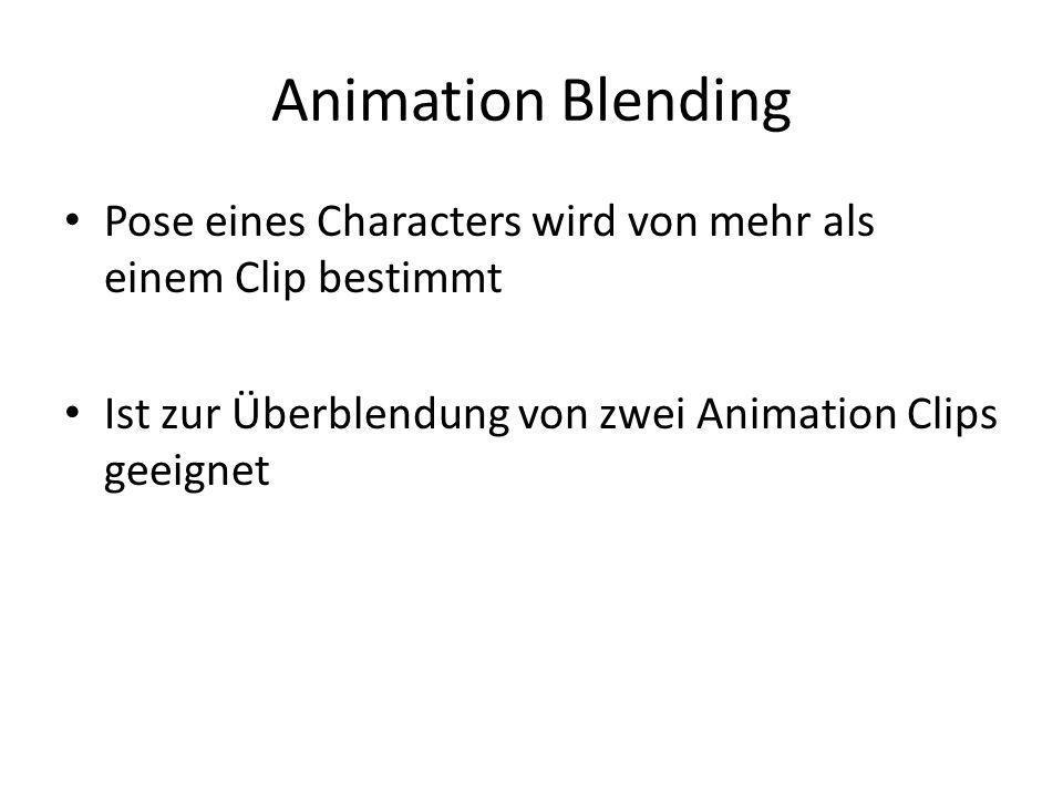Animation Blending Pose eines Characters wird von mehr als einem Clip bestimmt.