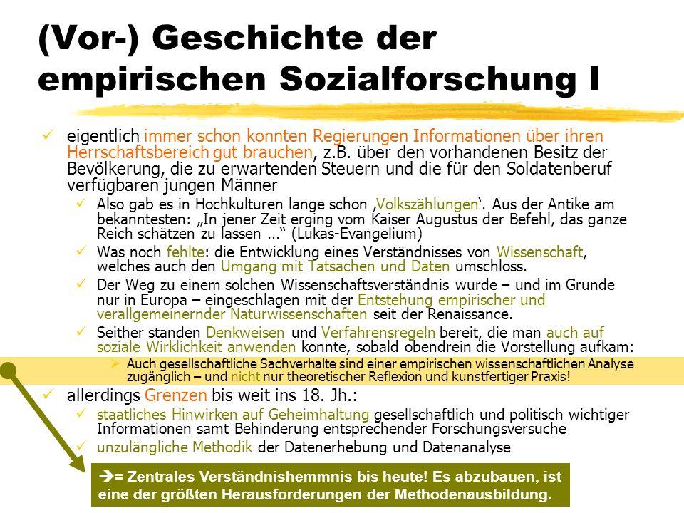 (Vor-) Geschichte der empirischen Sozialforschung I