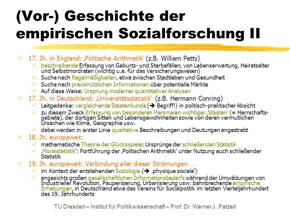 (Vor-) Geschichte der empirischen Sozialforschung II