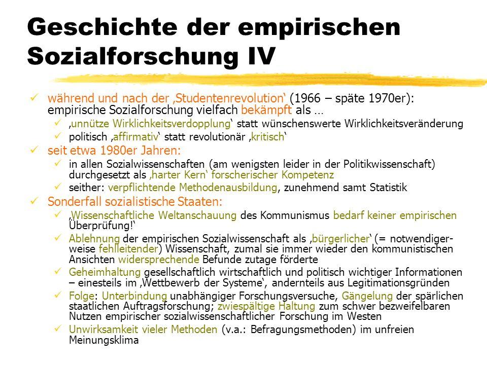 Geschichte der empirischen Sozialforschung IV