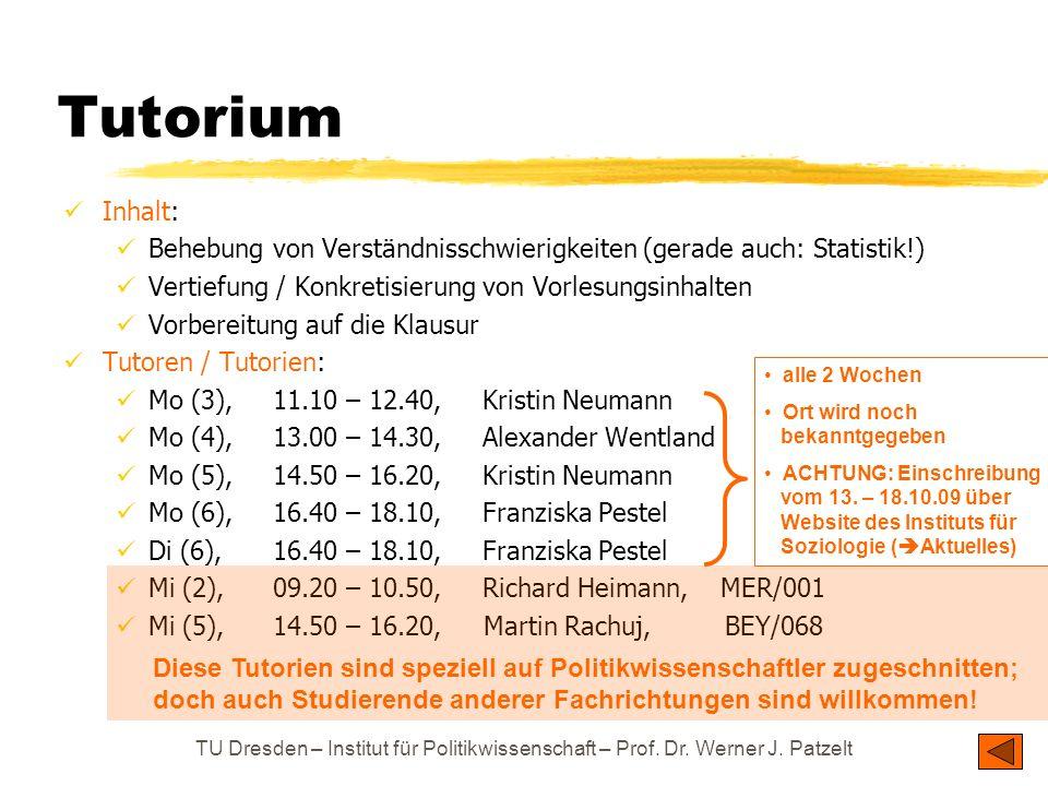 Tutorium Inhalt: Behebung von Verständnisschwierigkeiten (gerade auch: Statistik!) Vertiefung / Konkretisierung von Vorlesungsinhalten.