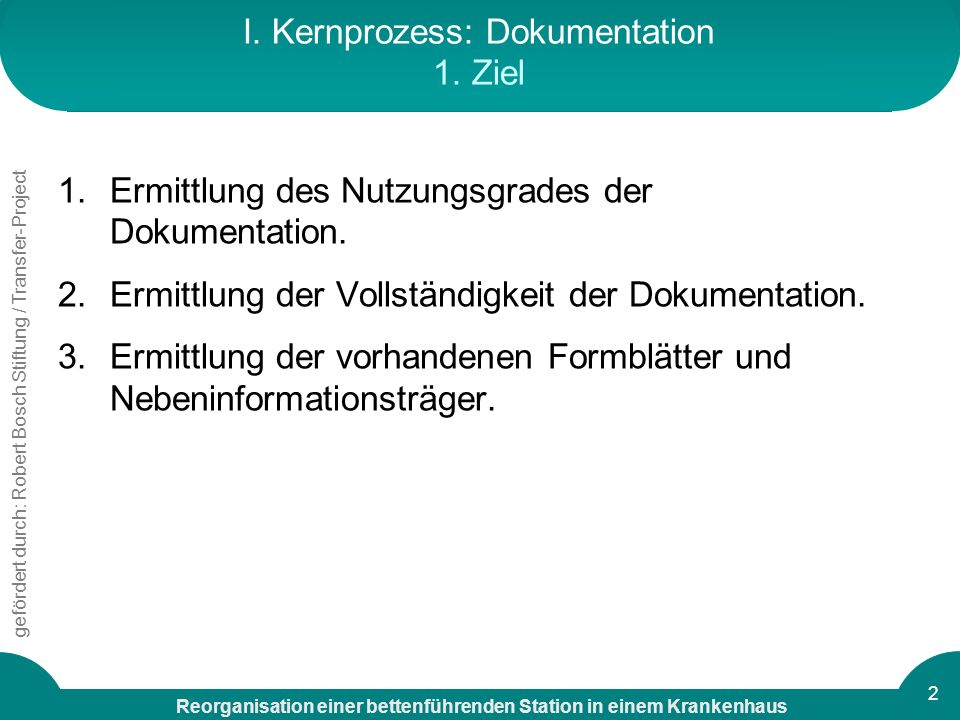 I. Kernprozess: Dokumentation 1. Ziel