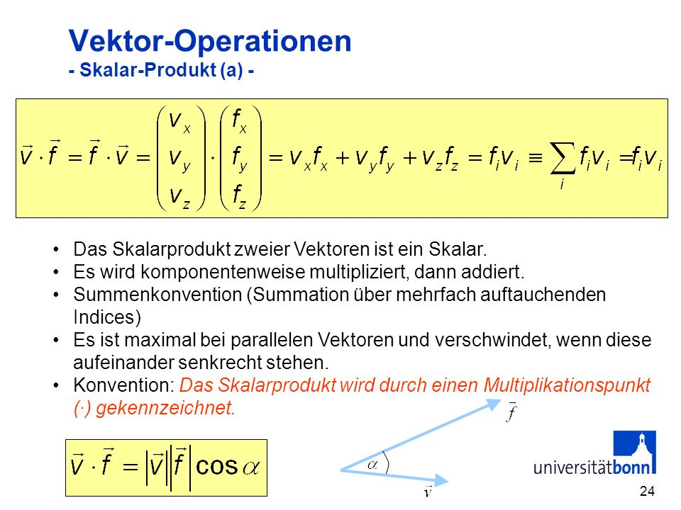 Vektor-Operationen - Skalar-Produkt (a) -