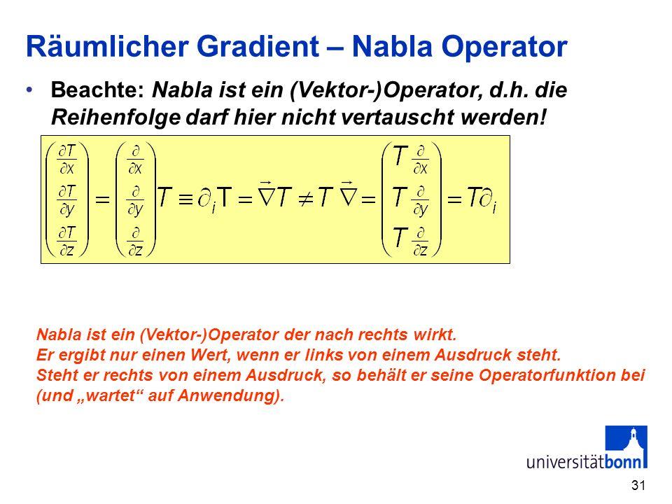Räumlicher Gradient – Nabla Operator