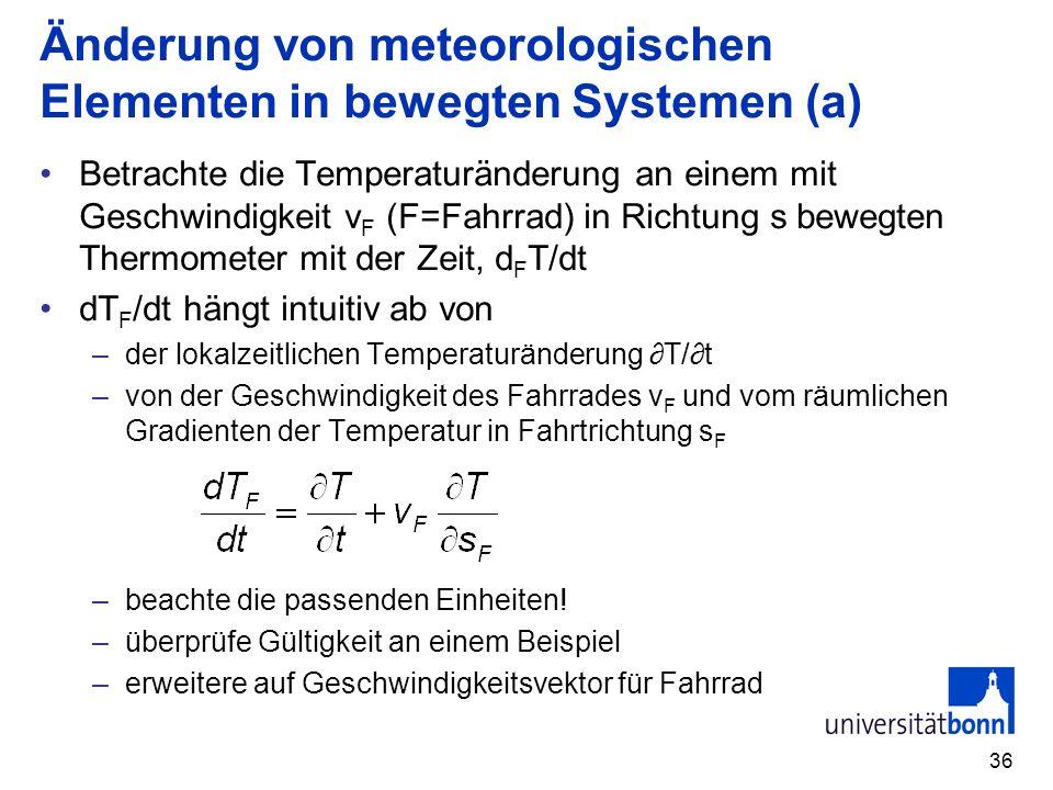 Änderung von meteorologischen Elementen in bewegten Systemen (a)