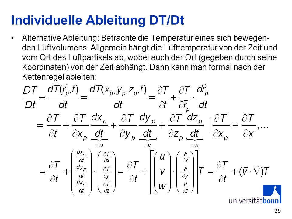 Individuelle Ableitung DT/Dt