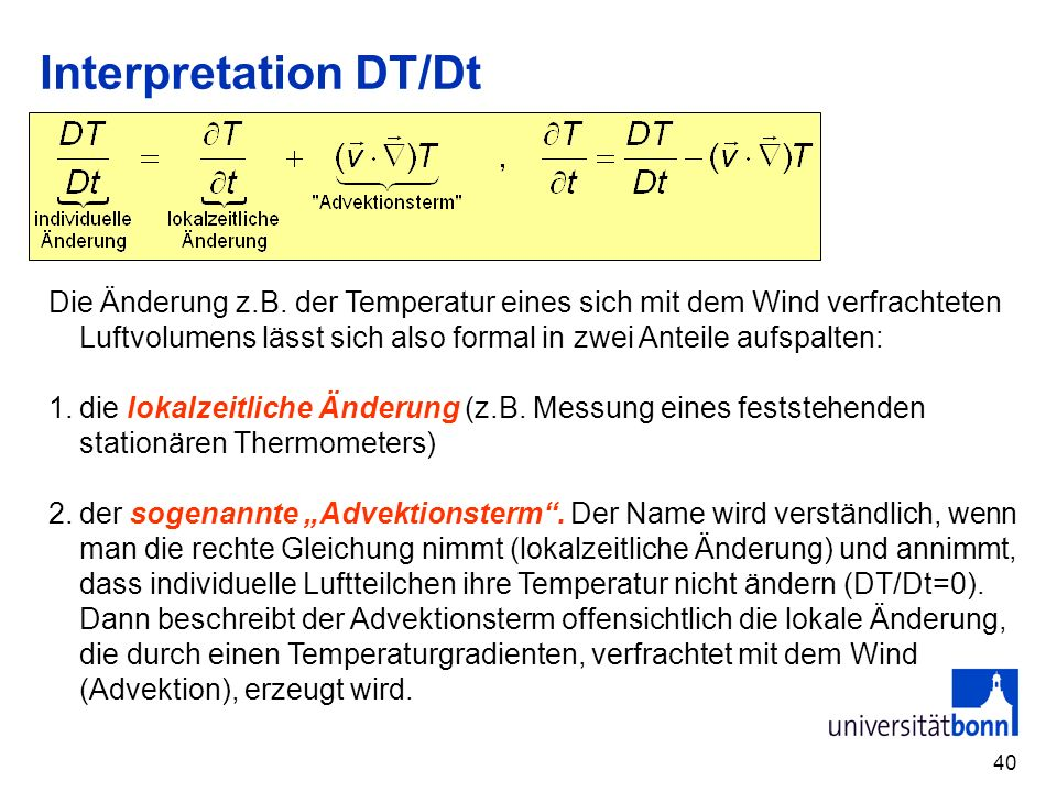 Interpretation DT/Dt