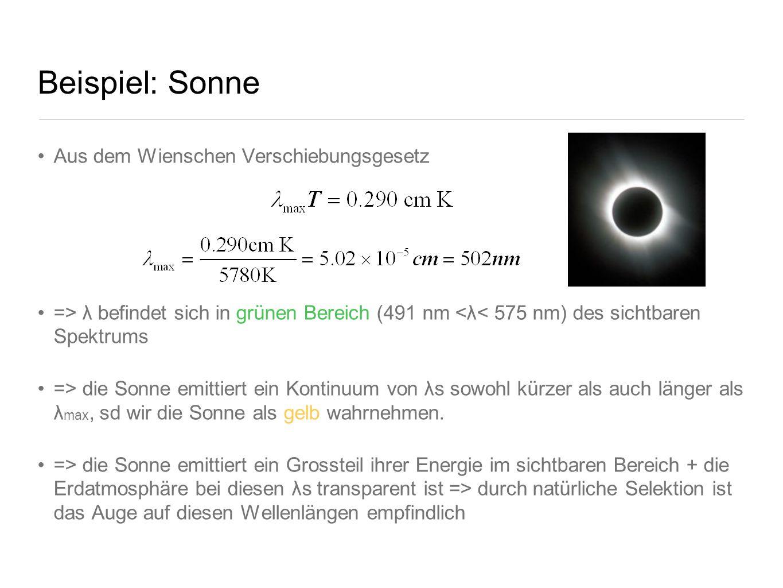Beispiel: Sonne Aus dem Wienschen Verschiebungsgesetz