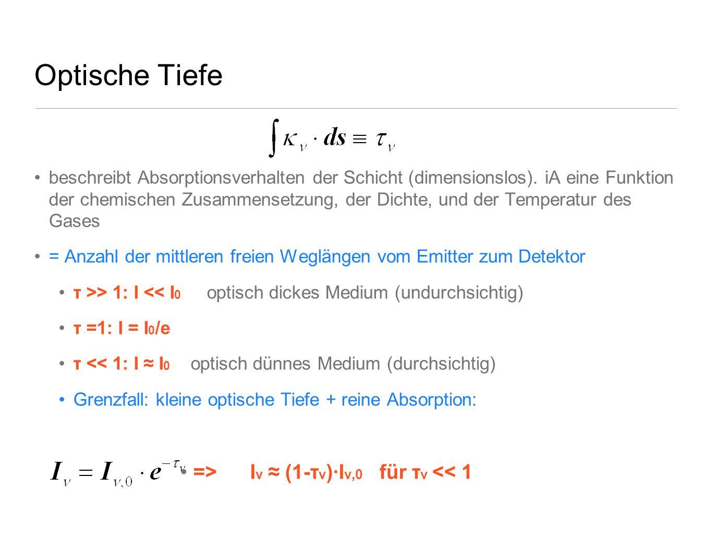 Optische Tiefe => Iν ≈ (1-τν)∙Iν,0 für τν << 1