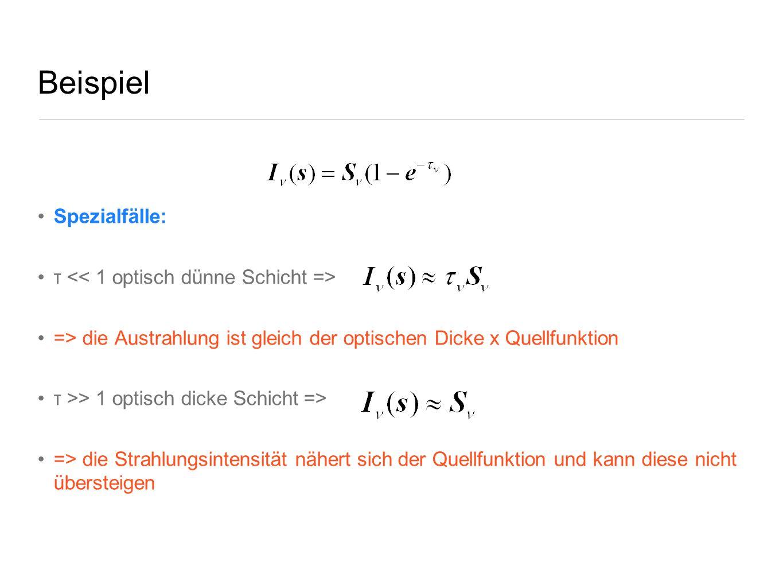 Beispiel Spezialfälle: τ << 1 optisch dünne Schicht =>