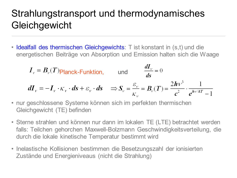 Strahlungstransport und thermodynamisches Gleichgewicht