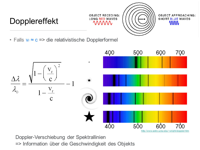 Dopplereffekt Falls vr ≈ c => die relativistische Dopplerformel