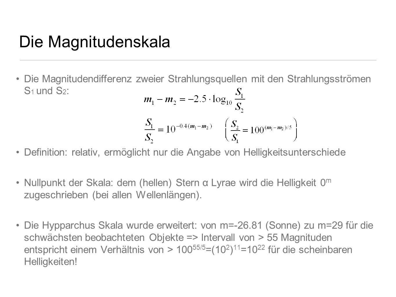 Die Magnitudenskala Die Magnitudendifferenz zweier Strahlungsquellen mit den Strahlungsströmen S1 und S2: