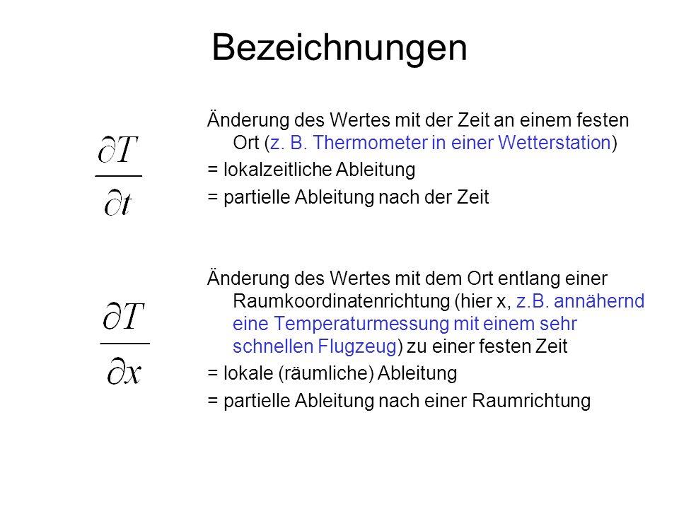 Bezeichnungen Änderung des Wertes mit der Zeit an einem festen Ort (z. B. Thermometer in einer Wetterstation)
