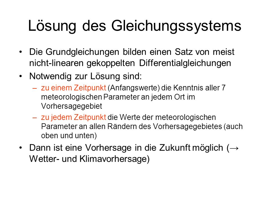 Lösung des Gleichungssystems
