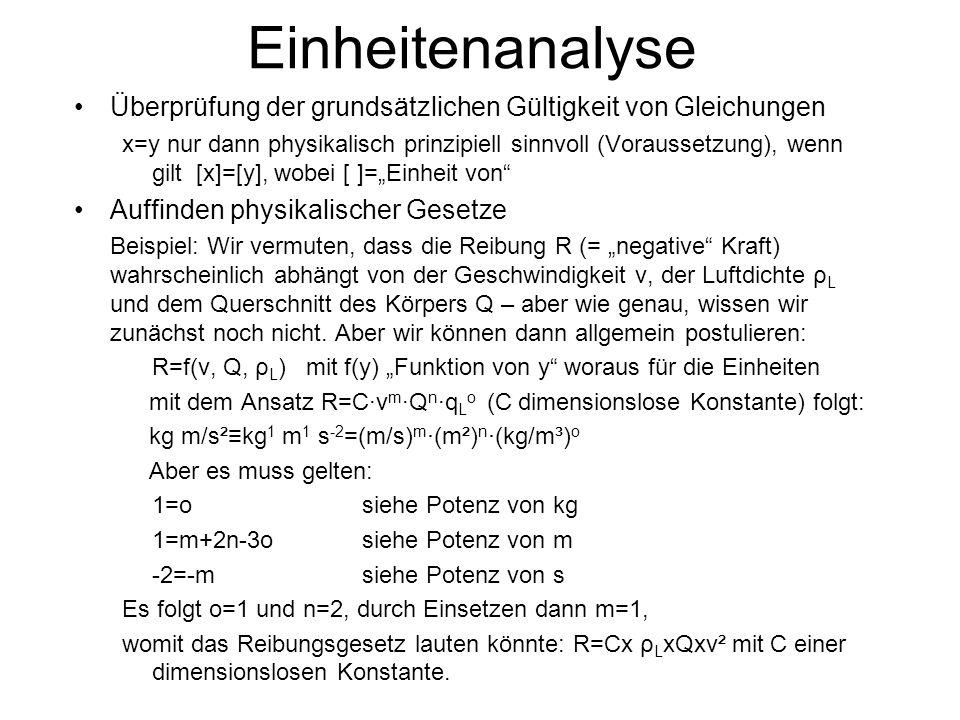 Einheitenanalyse Überprüfung der grundsätzlichen Gültigkeit von Gleichungen.